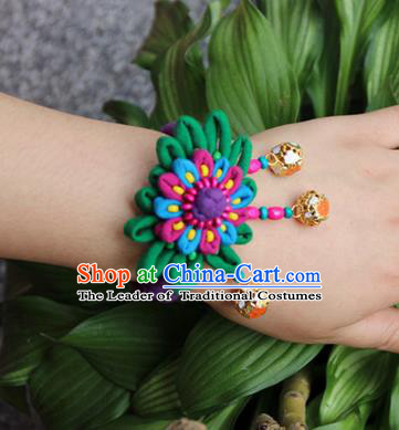 Traditional Chinese Miao Ethnic Minority Palace Jewelry Accessories Wristbands Bracelet, Hmong Handmade Bracelet Bells Chain Bracelet for Women