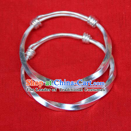 Traditional Chinese Miao Ethnic Minority Miao Silver Bracelet, Hmong Handmade Silver Bracelet Jewelry Accessories for Women