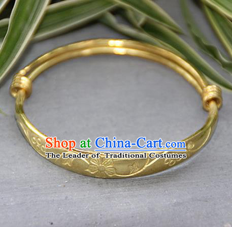 Traditional Chinese Miao Ethnic Minority Miao Copper Baby Bracelet, Hmong Handmade Brass Bracelet Jewelry Accessories for Children