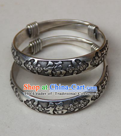Traditional Chinese Miao Ethnic Minority Miao Silver Plum Flower Bracelet, Hmong Handmade Bracelet Jewelry Accessories for Women