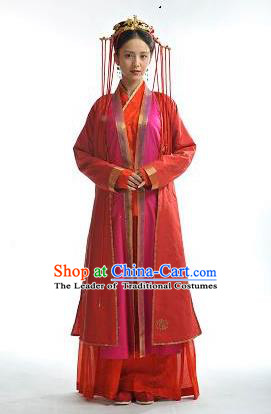 Traditional Chinese Ming Dynasty Wedding Costume, Chinese Ancient Imperial Empress Embroidery Dress and Accessories Complete Set for Women