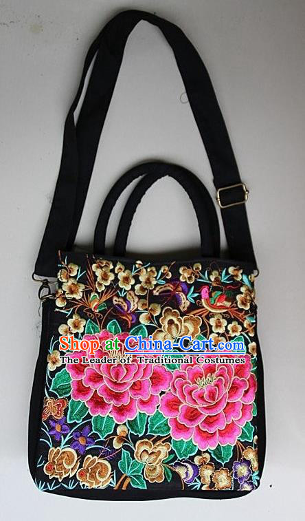 Traditional Chinese Miao Nationality Palace Handmade Double-Sided Embroidery Butterfly Peony Handbag Hmong Handmade Embroidery Canvas Single Shoulder Bags for Women