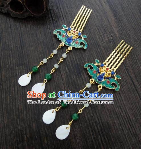 Traditional Handmade Chinese Ancient Classical Hair Accessories Barrettes Lotus Hairpin, Blueing Shell Tassel Headdress Hair Jewellery, Hair Fascinators Hairpins for Women