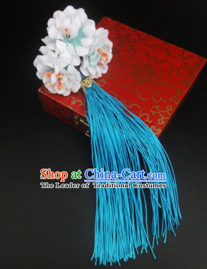 Traditional Handmade Chinese Ancient Classical Hair Accessories Barrettes Hairpin, Flowers Long Tassel Headdress Hair Jewellery, Hanfu Hair Fascinators Hairpins for Women
