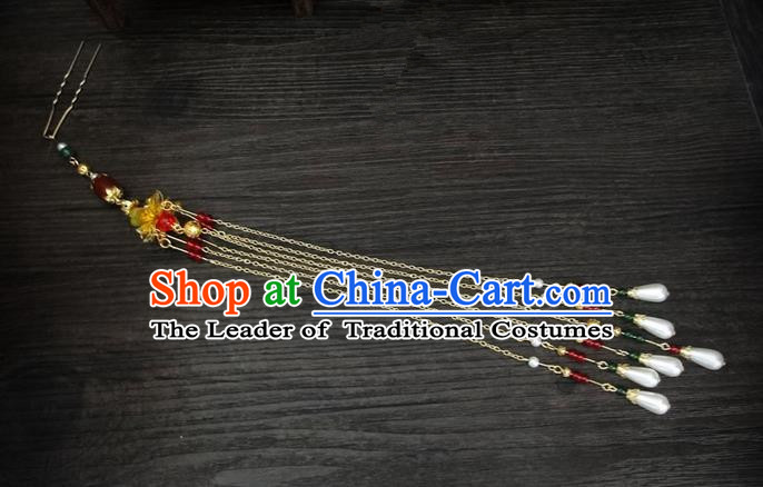 Traditional Handmade Chinese Ancient Classical Hair Accessories Barrettes Hairpin, Imperial Emperess Tassel Headdress Hair Jewellery, Hair Fascinators Hairpins for Women