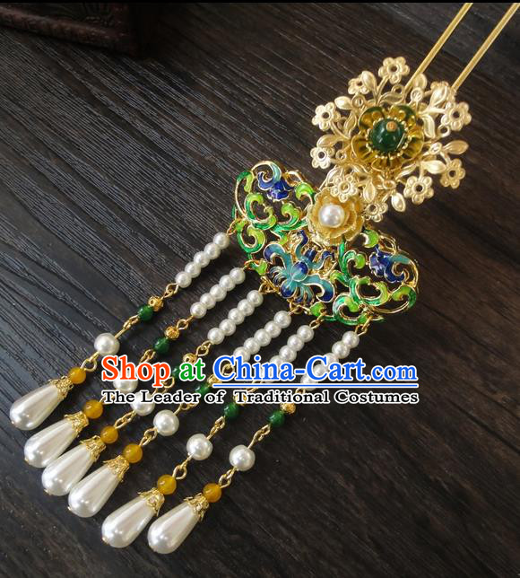 Traditional Handmade Chinese Ancient Classical Hair Accessories Barrettes Hairpin, Blueing Lotus Hair Sticks Hair Jewellery, Hair Fascinators Hairpins for Women