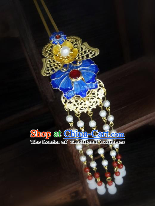 Traditional Handmade Chinese Ancient Classical Hair Accessories Barrettes Hairpin, Blueing Hair Sticks Pearl Hair Jewellery, Hair Fascinators Hairpins for Women