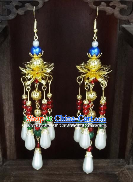 Traditional Handmade Chinese Ancient Classical Lotus Pearl Earrings for Women
