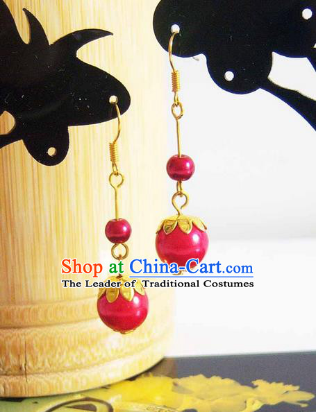 Traditional Handmade Chinese Ancient Classical Pearl Wedding Earrings for Women