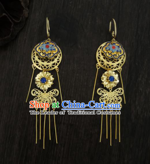 Traditional Handmade Chinese Ancient Classical Imperial Emperess Wedding Blueing Tassel Earrings for Women