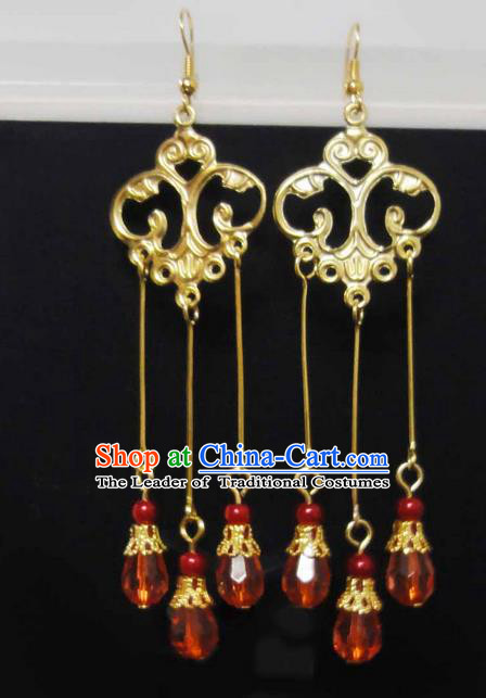 Traditional Handmade Chinese Ancient Classical Imperial Emperess Wedding Tassel Earrings for Women