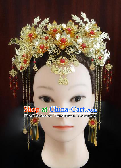 Traditional Handmade Chinese Ancient Classical Hair Accessories Barrettes Hairpin, Imperial Emperess Phoenix Coronet Hair Jewellery, Hair Fascinators Hairpins Complete Set for Women