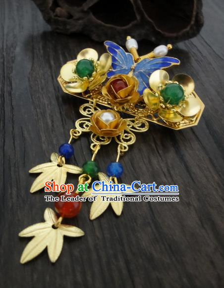 Traditional Handmade Chinese Ancient Classical Brooch, Blueing Pearl Brooch for Women