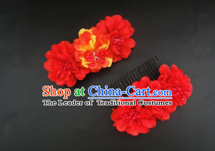 Traditional Handmade Chinese Ancient Classical Hair Accessories Barrettes Hairpin, Flowers Headdress Hair Jewellery, Hair Fascinators Hairpins for Women