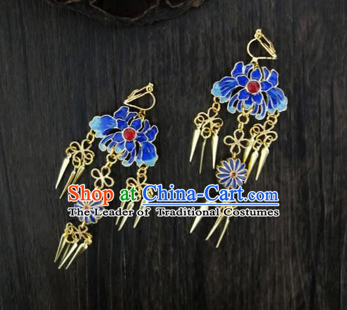Traditional Handmade Chinese Ancient Classical Blueing Earrings for Women