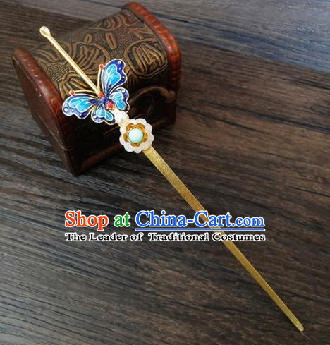 Traditional Handmade Chinese Ancient Classical Hair Accessories Barrettes Hairpin, Blueing Butterfly Hair Sticks Hair Jewellery, Hair Fascinators Hairpins for Women