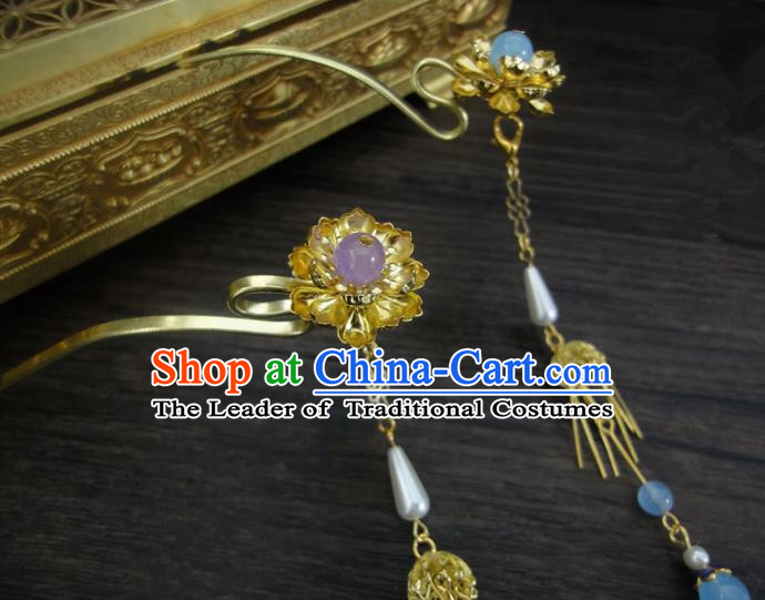 Traditional Handmade Chinese Ancient Classical Hair Accessories Barrettes Hairpin, Bride Hair Sticks Hair Jewellery, Hair Fascinators Hairpins for Women