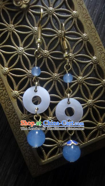 Traditional Handmade Chinese Ancient Classical Imperial Emperess Wedding Shell Chalcedony Earrings for Women