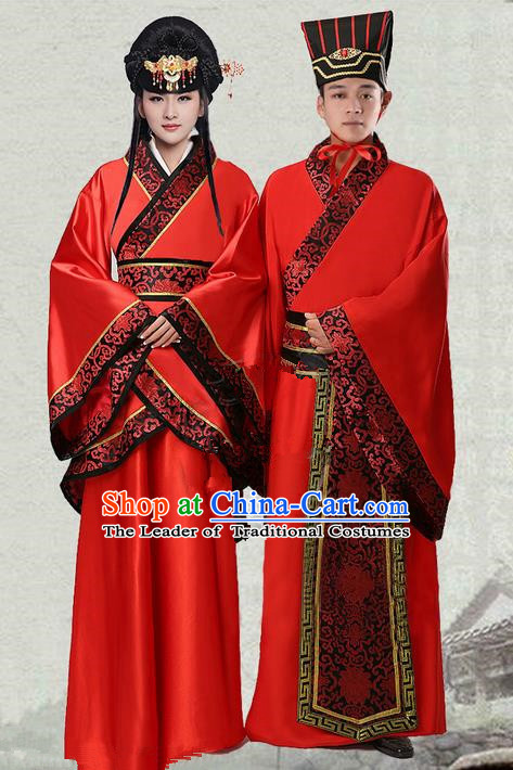 Traditional Ancient Chinese Imperial Emperess and Emperor Costume Set, Chinese Han Dynasty Wedding Dress, Cosplay Chinese Imperial Princess and King Clothing Hanfu for Women for Men