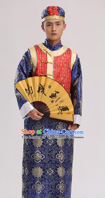 Traditional Ancient Chinese Imperial Emperor Costume, Chinese Qing Dynasty Male Wedding Dress, Cosplay Chinese Imperial Prince Clothing Hanfu for Men