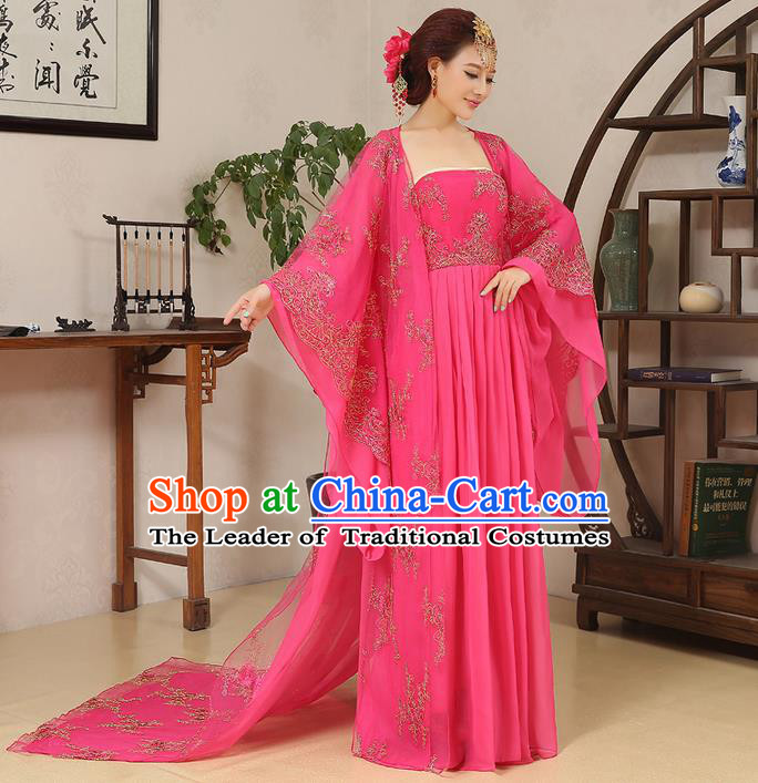 Traditional Ancient Chinese Imperial Emperess Dance Costume, Chinese Wedding Dress, Cosplay Chinese Peri Imperial Princess Tailing Clothing Hanfu for Women