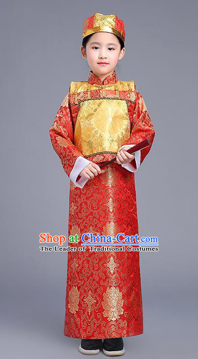 Traditional Ancient Chinese Imperial Emperor Costume, Chinese Qing Dynasty Dress, Cosplay Chinese Imperial Prince Clothing Hanfu for Kids