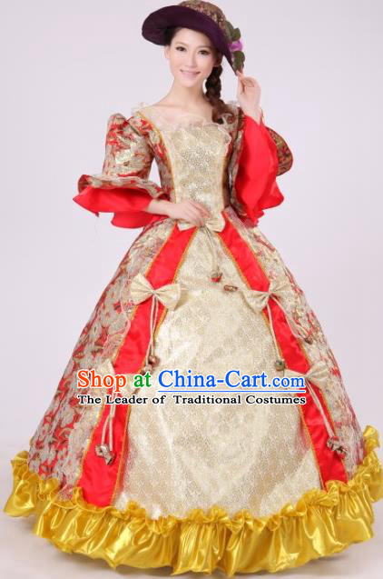 Traditional Ancient European Female Clothing, European Palace Court Juliet Stage Costumes and Hat Complete Set for Women