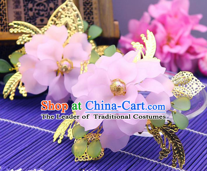 Traditional Handmade Chinese Ancient Classical Hair Accessories Barrettes Hairpin, Bride Wedding Silk Flower Hair Sticks, Hair Fascinators Hairpins for Women