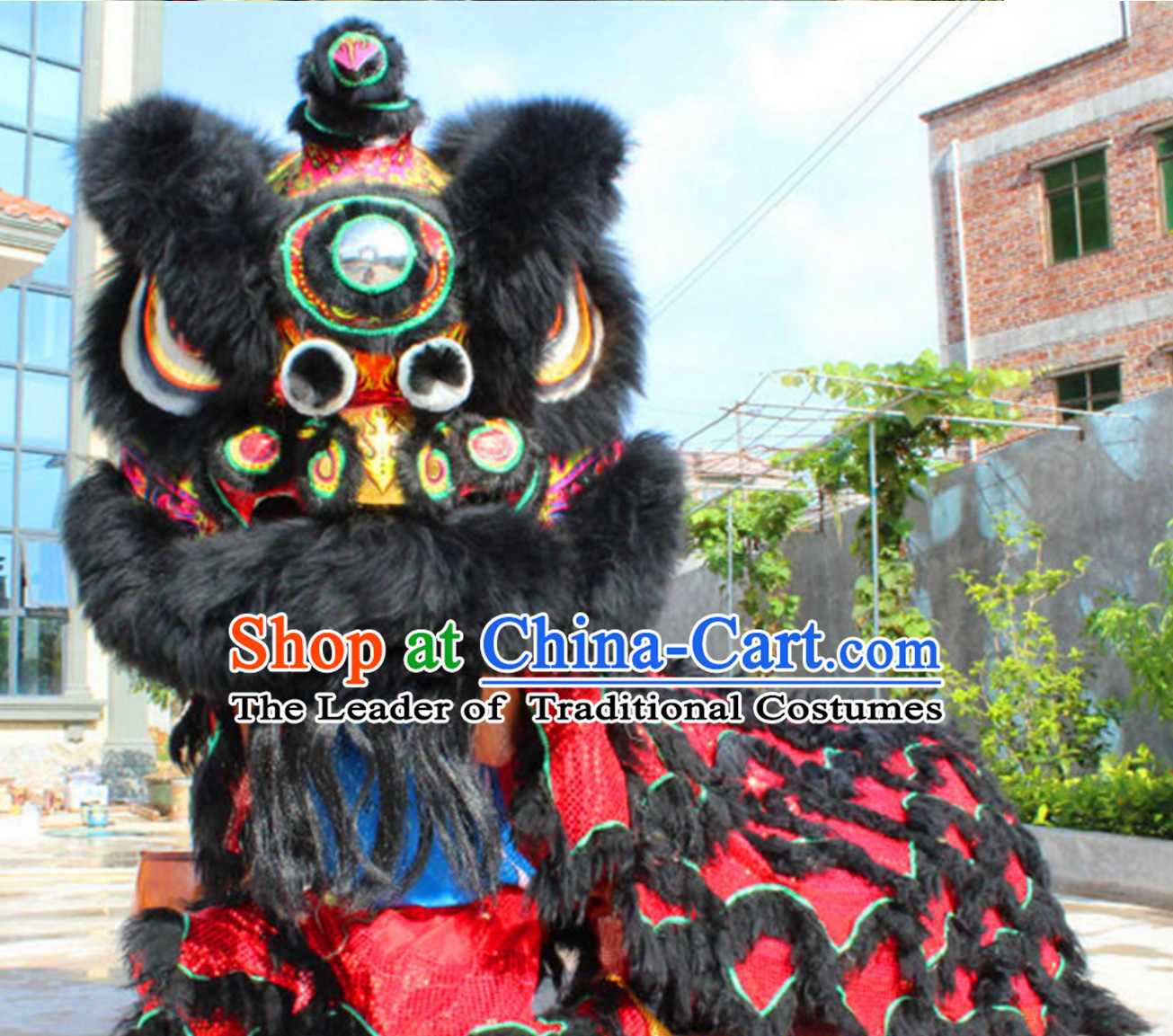 Black Red NEW 100% Natural Wool Supreme Chinese Lion Dance Costumes Complete Set