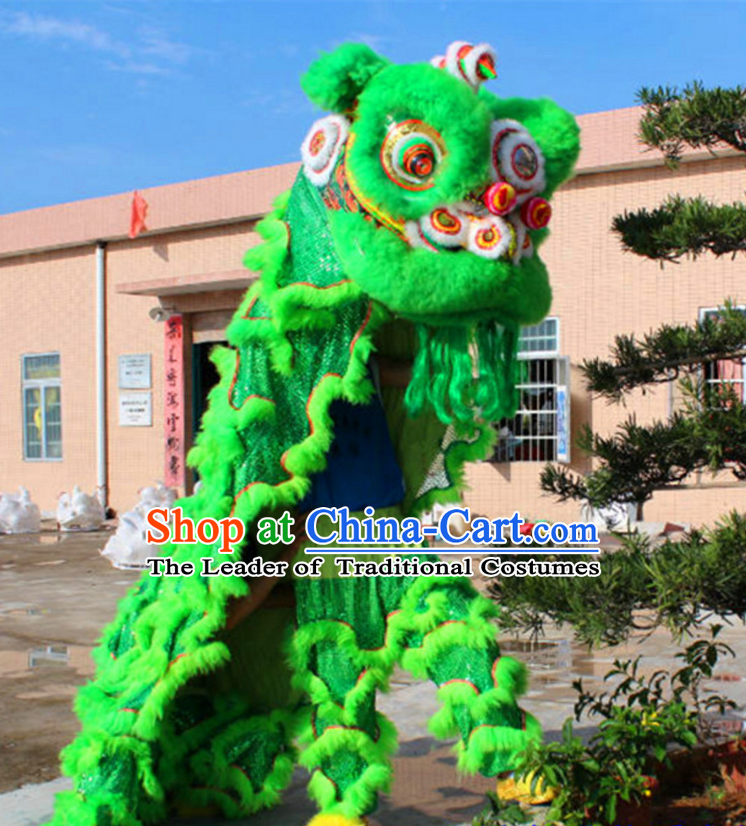 Green NEW 100% Natural Wool Supreme Chinese Lion Dance Costumes Complete Set