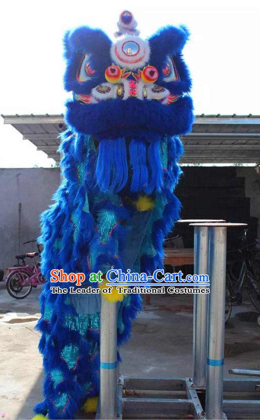 Blue NEW 100% Natural Wool Supreme Chinese Lion Dance Costumes Complete Set