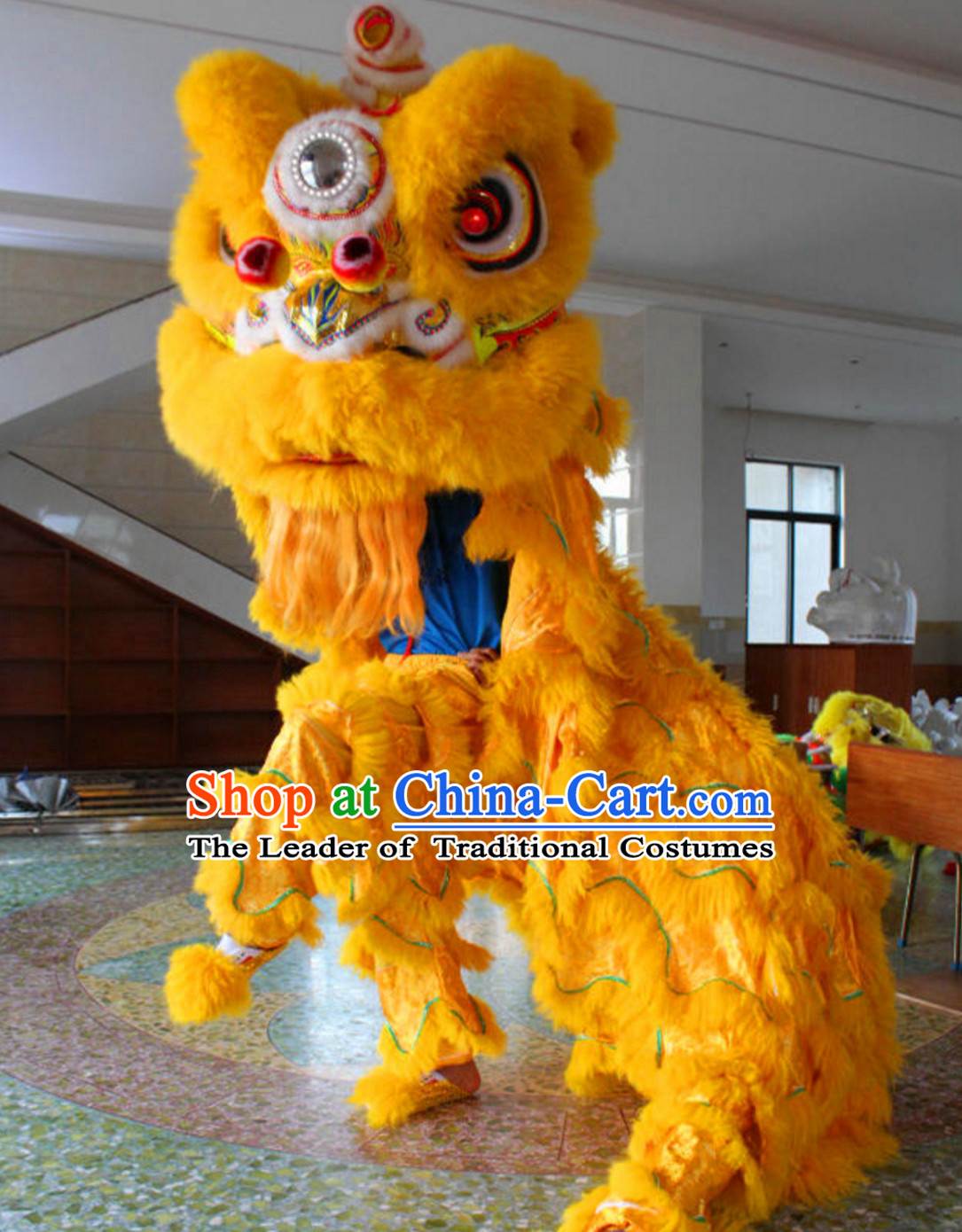 Yellow Folk Art NEW 100% Natural Wool Chinese Lion Dance Costumes Complete Set