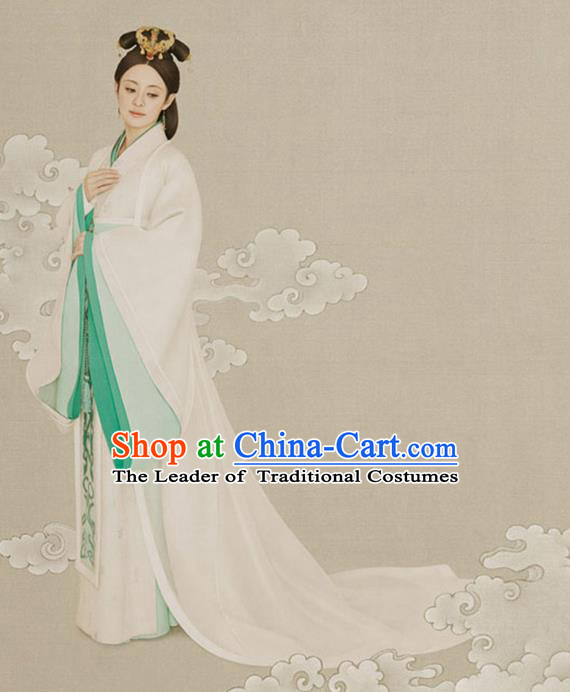Traditional Ancient Chinese Imperial Emperess Costume Complete Set, Chinese Han Dynasty Emperess Wedding Dress, Cosplay Chinese Imperial Princess Embroidered Clothing for Women