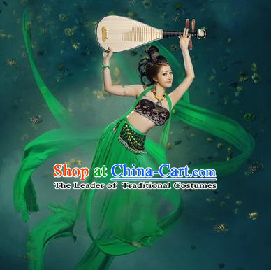 Traditional Ancient Chinese Dunhuang Flying Fairy Costume, Chinese Tang Dynasty Dance Ribbon Dress, Cosplay Chinese Peri Imperial Empress Tailing Black Embroidered Clothing for Women
