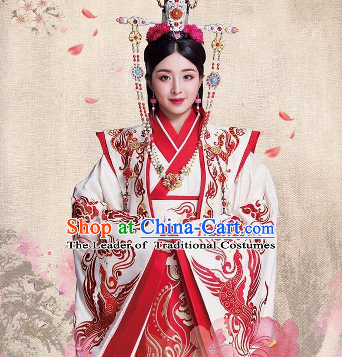 Traditional Ancient Chinese Imperial Emperess Costume, Chinese Han Dynasty Young Lady Wedding Dress, Cosplay Chinese Emperess Embroidered Clothing Phoenix Hanfu for Women
