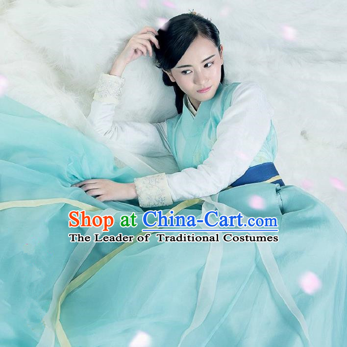 Traditional Ancient Chinese Imperial Princess Costume, Chinese Han Dynasty Young Lady Dance Dress, Cosplay Chinese Peri Clothing Hanfu for Women