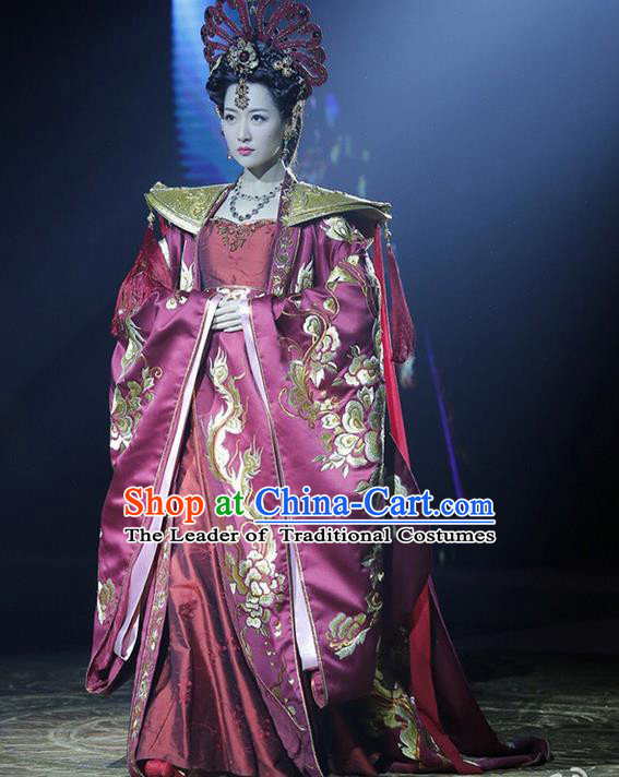 Traditional Ancient Chinese Imperial Emperess Costume, Chinese Tang Dynasty Lady Wedding Dress, Cosplay Chinese Emperess Embroidered Clothing Phoenix Costume for Women