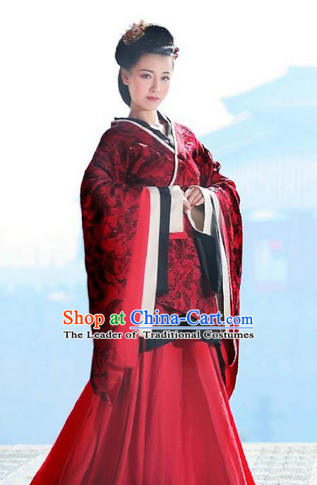 Traditional Ancient Chinese Imperial Emperess Costume, Chinese Han Dynasty Wedding Dress, Cosplay Chinese Princess Embroidered Clothing Hanfu Costume for Women