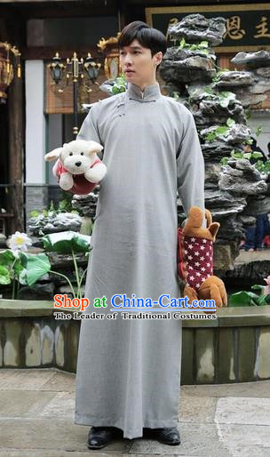 Traditional Ancient Chinese Republic of China Gown Robes Qing Dynasty Minguo Costumes for Men
