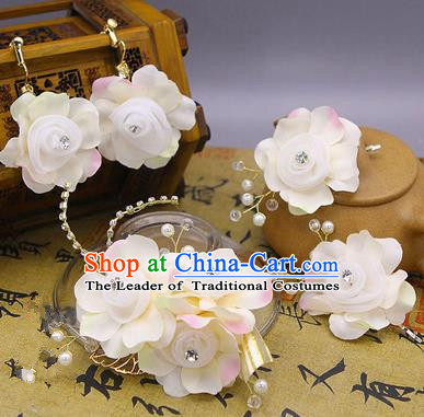 Traditional Handmade Chinese Ancient Classical Hair Accessories Pink Flowers Hairpin, Hair Sticks Hair Claws, Hair Fascinators Hairpins for Women