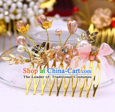Traditional Handmade Chinese Ancient Classical Hair Accessories Pink Flowers Hairpin, Hair Claws Hair Comb for Women