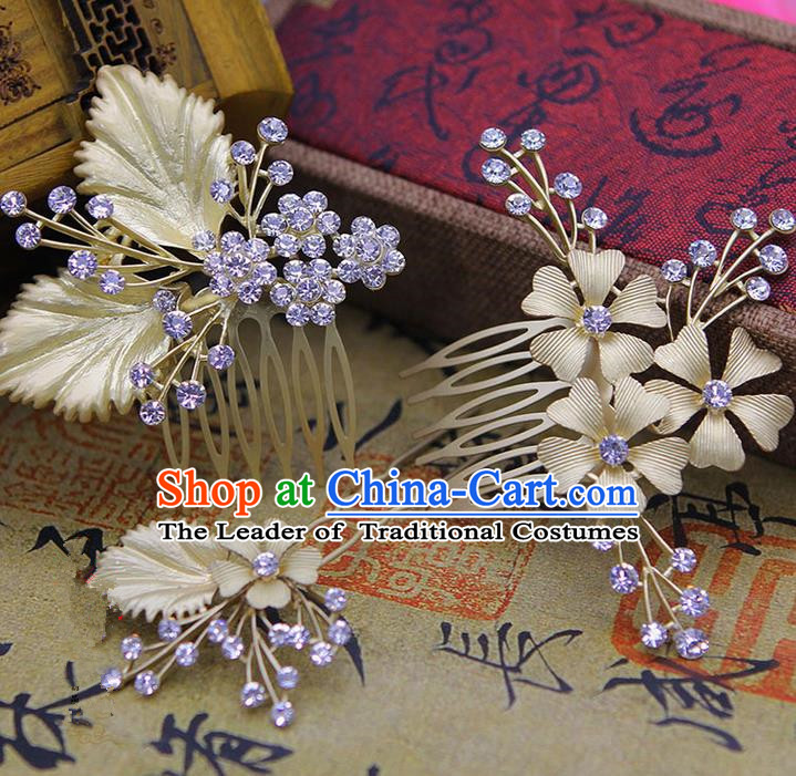 Traditional Handmade Chinese Ancient Classical Hair Accessories Bride Wedding Hairpin, Hair Claws Hair Comb Set for Women