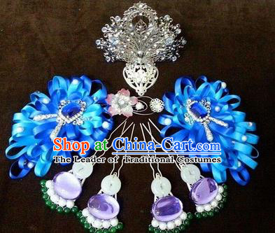 Traditional Handmade Chinese Ancient Classical Imperial Emperess Hair Accessories Bride Wedding Hairpin, Hanfu Hairpin Complete Set for Women