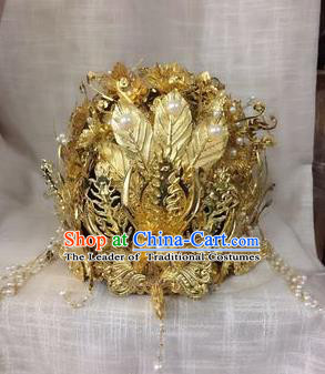 Traditional Handmade Chinese Ancient Classical Imperial Emperess Hair Accessories Phoenix Coronet, Bride Wedding Hairpin, Hanfu Hat for Women