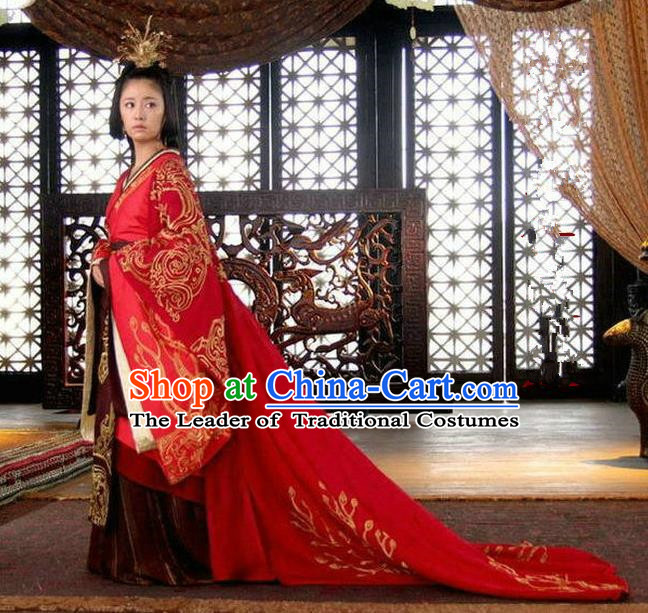 Traditional Ancient Chinese Imperial Emperess Costume Complete Set, Chinese Han Dynasty Wedding Dress, Cosplay Chinese Imperial Tailing Clothing for Women