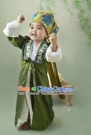 Traditional Ancient Chinese Boys Costume, Chinese Ming Dynasty Children Dress, Cosplay Chinese Student Clothing for Kids