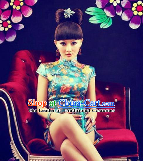 Traditional Ancient Chinese Young Women Cheongsam Dress, Republic of China Tangsuit Stand Collar Brocade Cheongsam for Women