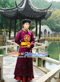 Traditional Ancient Chinese Qing Dynasty Imperial Prince Robes, Qing Dynasty Manchu Imperial Emperor Dragon Costumes for Men