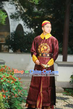 Traditional Ancient Chinese Qing Dynasty Imperial Prince Robes, Manchu Imperial Emperor Embroidered Dragon Costumes for Men