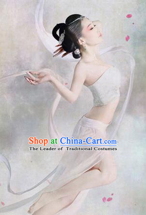 Traditional Ancient Chinese Dunhuang Flying Fairy Costume, Chinese Tang Dynasty Dance Long Ribbon Dress, Cosplay Chinese Peri Imperial Empress Tailing Black Embroidered Clothing for Women